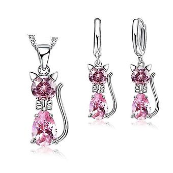 Romantic Engagement Silver Cute Cat Jewelry Set With Austrian Crystal