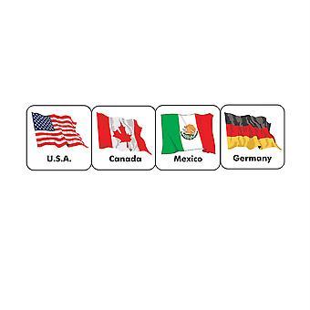 Banderas del mundo (20 países) Pegatinas temáticas