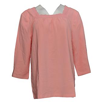 Denim & Co. Kobiety&s Top Jersey Square Neck Elbow Sleeve Top Pink A379751