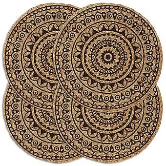 sets de table vidaXL 4 pcs. brun foncé 38 cm Jute rond