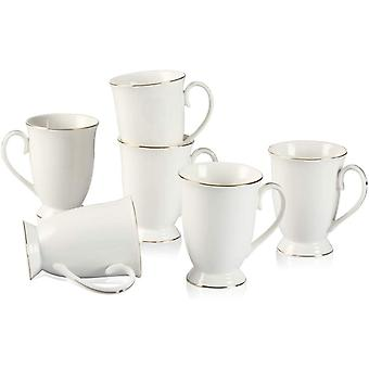 DZK China Cups and Mugs Sets of 6,280ML,White Porcelain Tea Cup,New Bone China Mugs for Women,