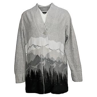 Cuddl Duds Women's Fleecewear Stretch Button-Front Cardigan Gray A381788