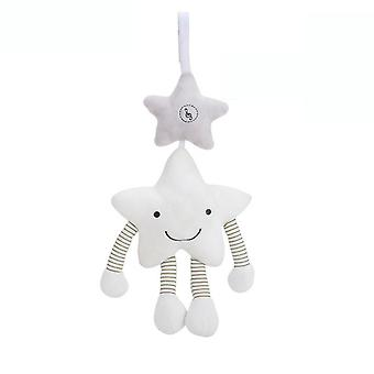 White Five Point Star Baby Hanging Toys Children Rattle Toys With Music Box Soft Plush Rattling Doll