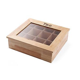 FengChun Teebox, Holzbox mit Sichtfenster, 12 AcrylKammern, Dokorative Teedose, 300x280x(H)90mm