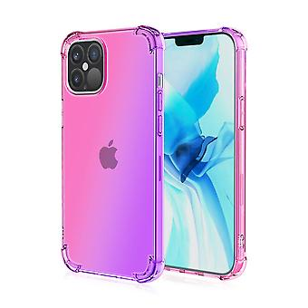Soft tpu case for iphone 12pro max shockproof gradient pink&purple