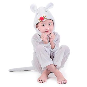 Hvid mus Lang Cosplay Suit Kostume Stage Tøj Ferie tøj (XS (100cm))