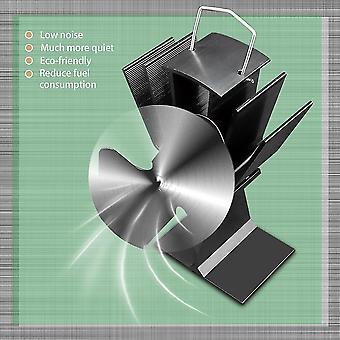 Durable 2 Blades Aluminum Black Heat Powered Stove Fan Fuel Saving Stove Fan