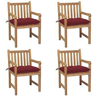 vidaXL sillas de jardín 4 piezas con cojín burdeos de madera maciza de teca