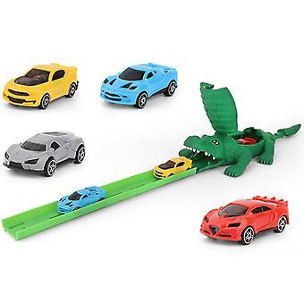 Kinderen diy krokodillenspoor auto track racen alligator race speelgoed kinderen cadeau met 4 auto's