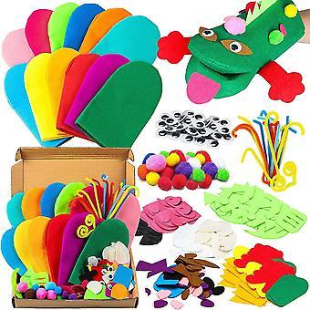 12Pcs Felt Handpuppe DIY Art Craft Set Moderne Kinder Filz Spielpuppe Socke Pompoms Bastelarbeiten
