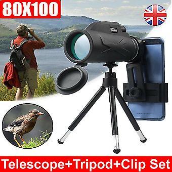(Telescopio+treppiede) 80X100 HD Telescopio monoculare Fotocamera zoom Starscope Hiking Tripod Tools
