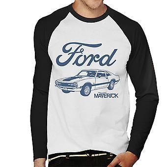Ford Maverick Blue Outline Miesten baseball pitkähihainen t-paita