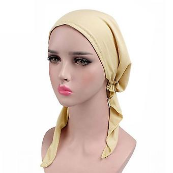 Womens Chemo Hat Turban Head Scarves Pre Tied Bandana Hair Cover Cap Solid Color