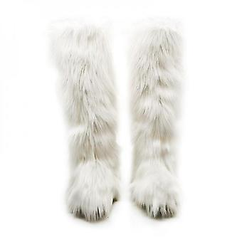 Evago Dames Faux Fur Boot Furry Fluffy Short Snow Boot Mid-calf Boots Warm Comfortable Outdoor Flat Shoes