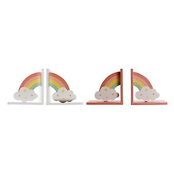 Bookend DKD Home Decor LI-178605 MDF Wood Rainbow (2 pcs) (14 x 14 x 10 cm)