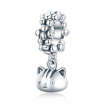 Sterling Silver Pendant Charm Swinging Kitten - 7123