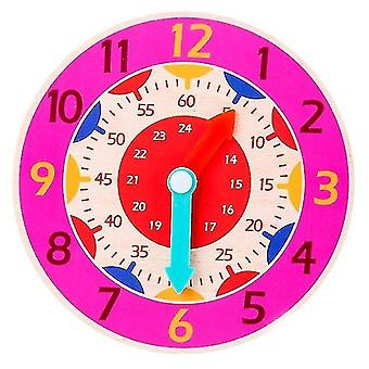 Jigsaw puzzles childrens montessori wooden clock teaching aid toys pink