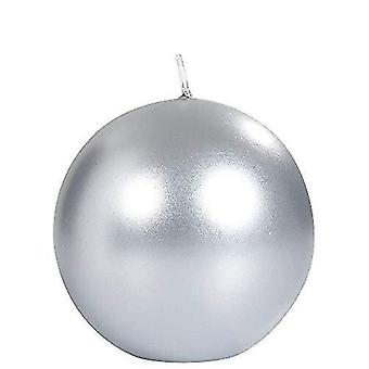 Candles metallic unscented festive ball candle 80 mm  ÂÂ 25 hours  silver