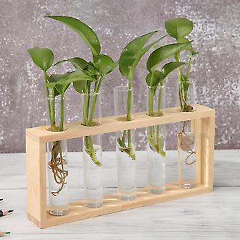 透明なガラスの花瓶木のフレーム鉄の芸術テラリウム盆栽テーブル装飾品ガラスおよび木の花瓶プランターテラリウムテーブルデスクトップ