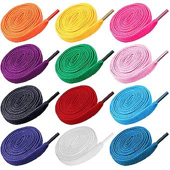 12 Pairs Replacement Flat Shoe Laces Cotton Strings Shoelaces For Sports Shoes Mixed Color