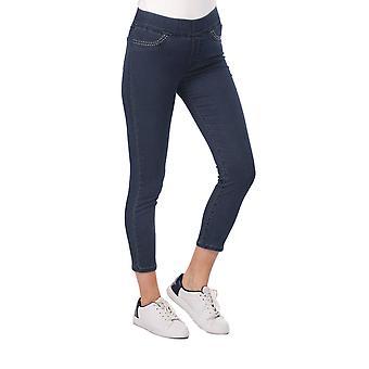 Blå hvit damelomme detaljerte leggings jeans