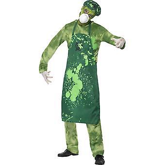 Férfi jelmez szerves veszély zöld nadrág Top Apron kalap maszk és a kéz mérete M