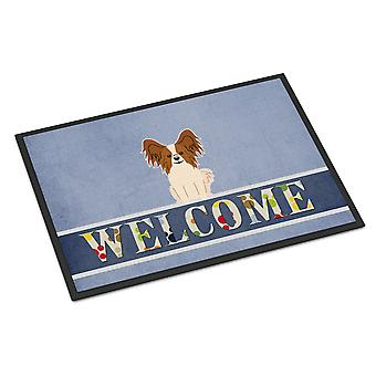 Papillon Red White Welcome Indoor or Outdoor Mat 18x27