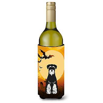 Halloween Standard Schnauzer Salt og Pepper vinflaske Beverge isolator Hugge