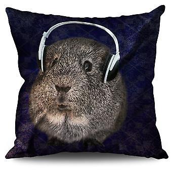 Guinea Pig Beat Funny Linen Cushion 30cm x 30cm | Wellcoda