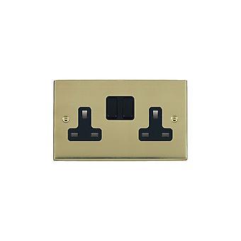 Hamilton Litestat Cheriton Victorian Polished Brass 2g 13A DP Swt Skt BL/BL