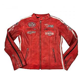 Warson Motors Womens Daytona Red Leather Jacket