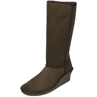 Ladies Spot On Wedge Winter Boots - Brown Textile - UK Size 7 - EU Size 40 - US Size 9