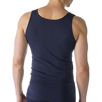 Mey 49100-668 Men's Casual Cotton Blue Solid Colour Tank Vest Top