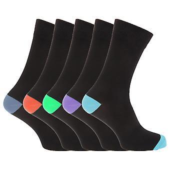 Pierre Roche Mens bomull rik sokker (pakke med 5)