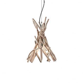 Ideal Lux Driftwood Natural Wooden Stick Ceiling Pendant 1 Light