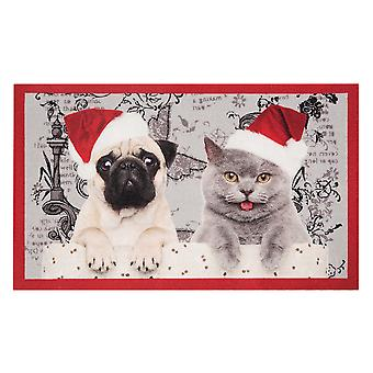 Doormat dirt trapping pad Christmas cat and dog red grey 45 x 75 cm