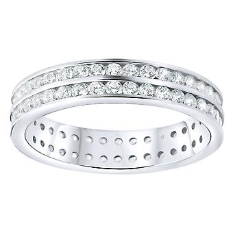 Sterling 925 Silver pave ring - double lines eternity