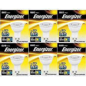 6 X Energizer LED Energy Saving Lightbulb GU10 5.8w = 60w Warm White[Energy Class A+]