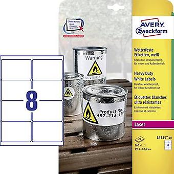 Avery-Zweckform L4715-20 Labels 67.7 x 99.1 mm Polyester film White 160 pc(s) Permanent All-purpose labels, Weatherproof labels