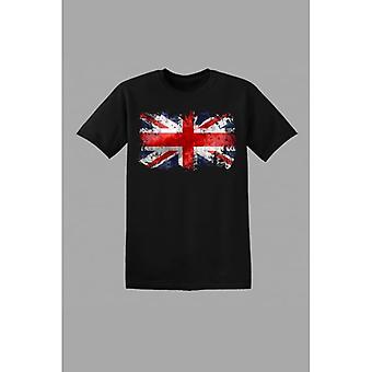 Union Jack ha Union Jack barna abstrakte t-skjorte-svart