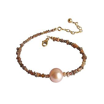 Diamonds and rose pearl bracelet gold plated champagne