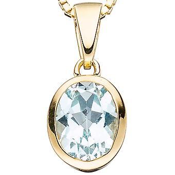 Pendant oval 333 Gold Yellow Gold 1 blue topaz blue light blue pendant gold