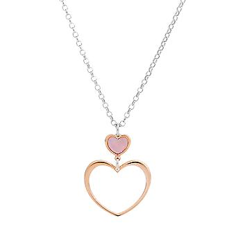 Orphelia Silver 925 Chain with Pendant Pink MOP Heart 40+4 cm