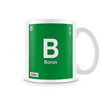 Научные печатные кружка, показывая элемент символ 005 B - бора