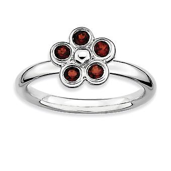925 Sterling Silver Bezel Polished Stackable Expressions Garnet Flower Ring Jewelry Gifts for Women - Ring Size: 8 to 10