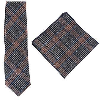 Knightsbridge kaulavaatteita Prince of Wales uloskirjautuminen Tie ja Pocket neliö Set - sininen/oranssi/harmaa
