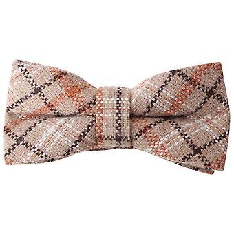 Knightsbridge Neckwear Checked Bow Tie - Brown/Orange/Beige