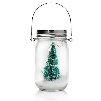 TRIXES LED Hanging Christmas Decorative Glass Jar Green