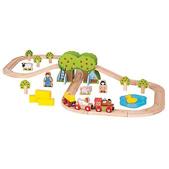 Bigjigs Rail Wooden Farm Train Track Play Set Animal Railway Accessories