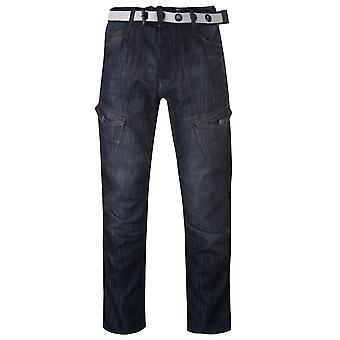 No Fear Mens Belted Cargo Jeans Multi Pocket Button Zip Fasten Comfort Casual
